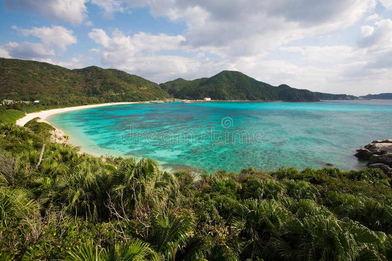 Coral reef next to the beach in Okinawa, Japan stock photo