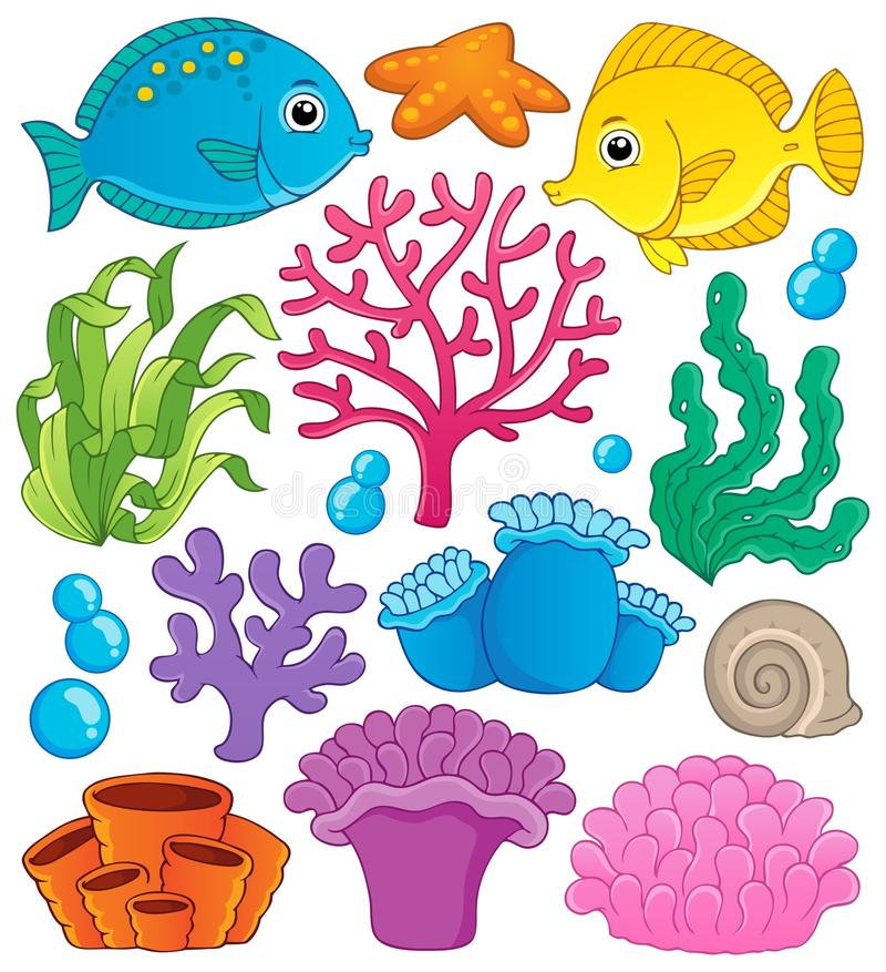 Coral reef theme collection 1 vector illustration