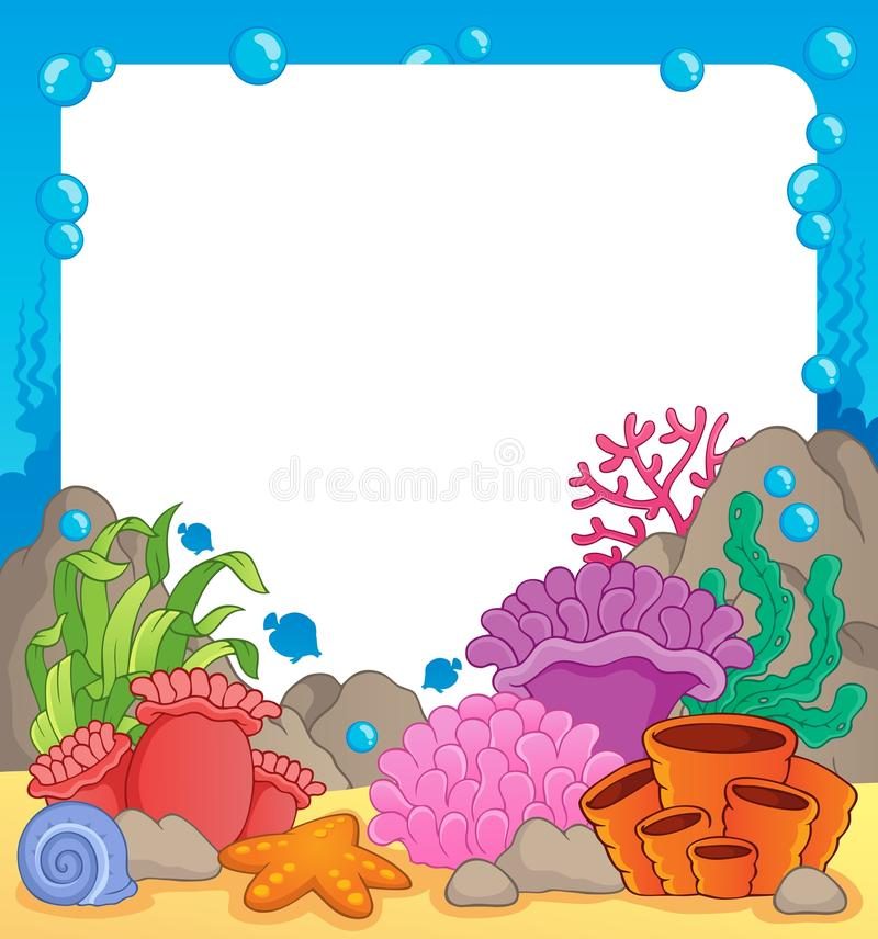 Coral reef theme frame 1. Vector illustration vector illustration