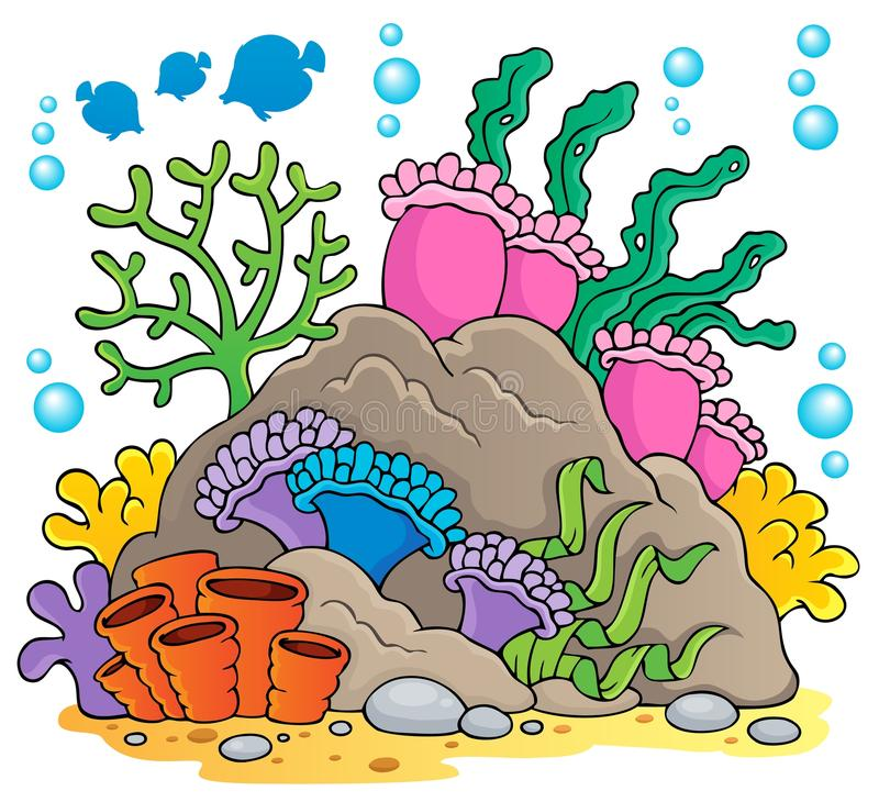Coral reef theme image 1. Vector illustration royalty free illustration