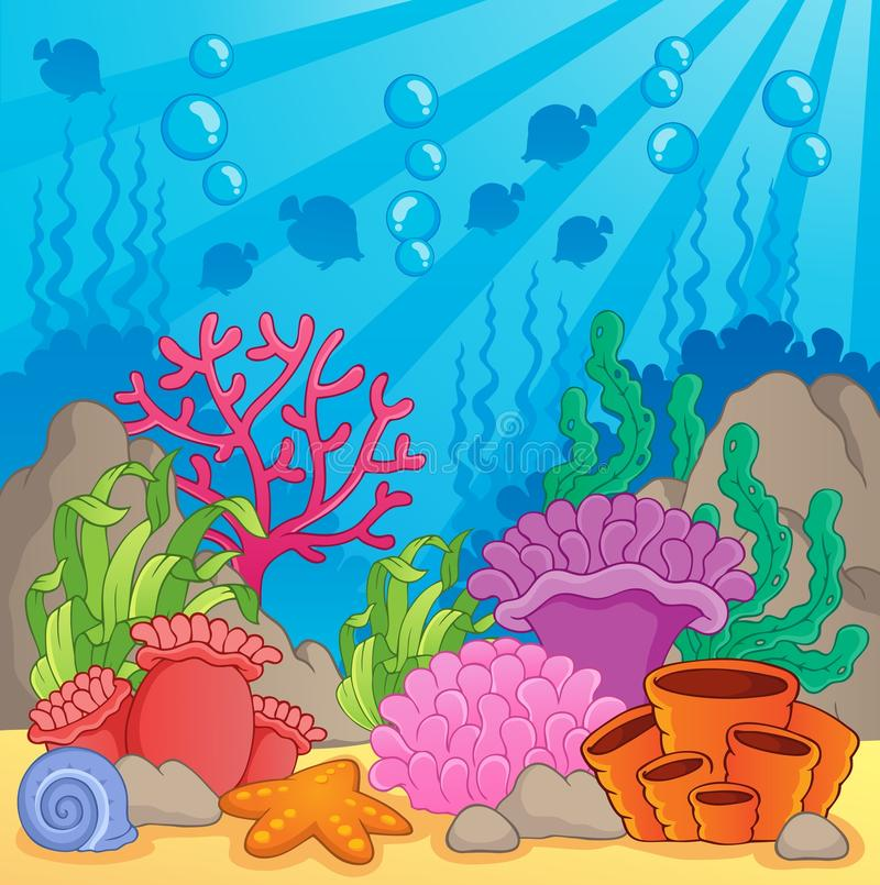 Coral reef theme image 3. Vector illustration stock illustration