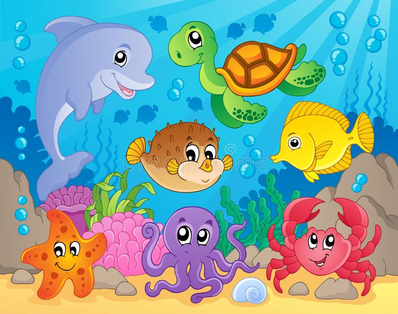 Coral reef theme image 5. Vector illustration royalty free illustration