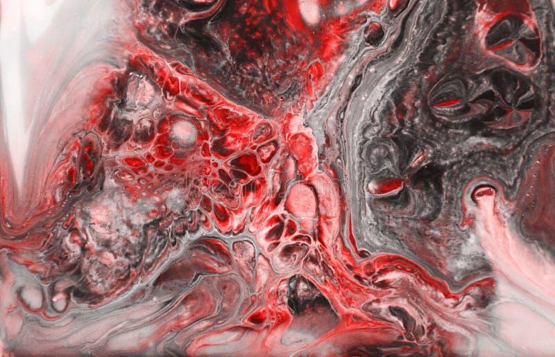 Coral rosado abstracto y textura de mármol blanca, arte de los acrílicos fotografía de archivo libre de regalías
