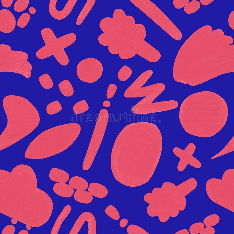 Coral seamless pattern with hand drawn doodle on a blue background royalty free illustration