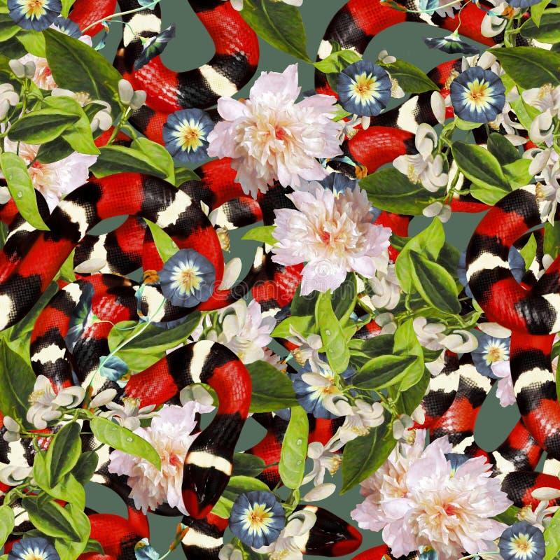 Coral Snakes Seamless Pattern Fondo di modo della pelle di serpente per il tessuto di tessuto, stampe, carta da parati Ornamental illustrazione vettoriale