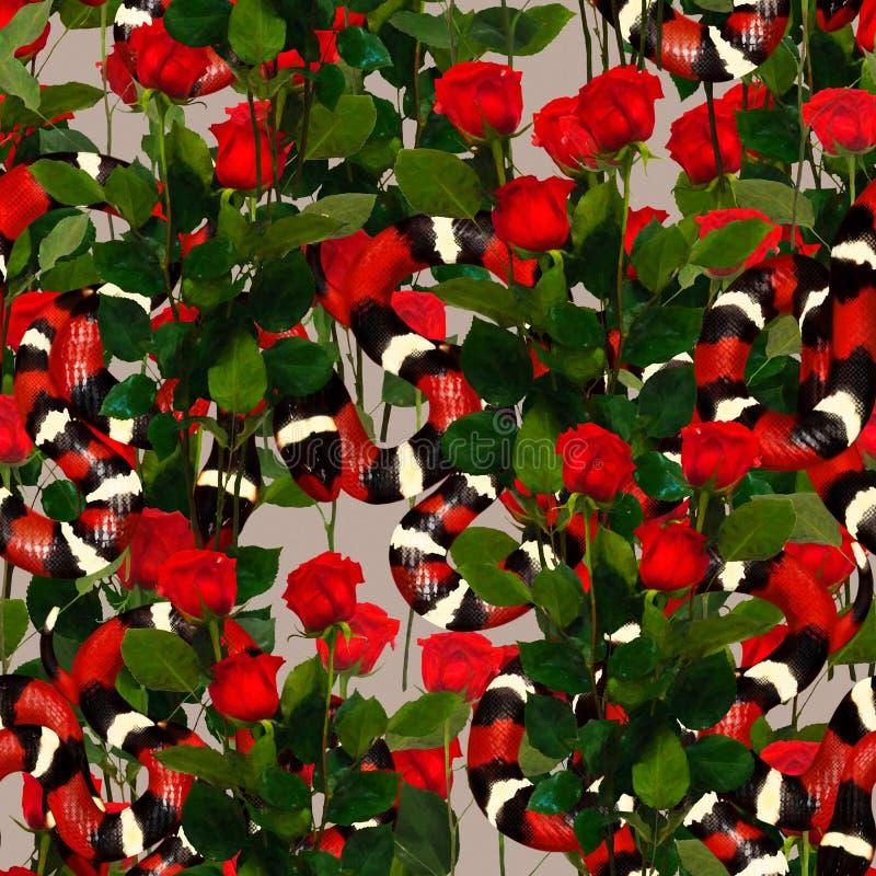 Coral Snakes Seamless Pattern Fondo di modo della pelle di serpente per il tessuto di tessuto, stampe, carta da parati Ornamental illustrazione di stock