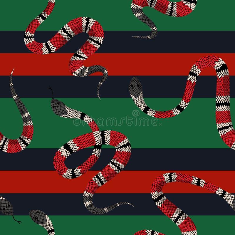 Coral Snakes Seamless Pattern Schlangen-Haut-Mode-Hintergrund für Textilgewebe, Drucke, Tapete Tierreptil stock abbildung
