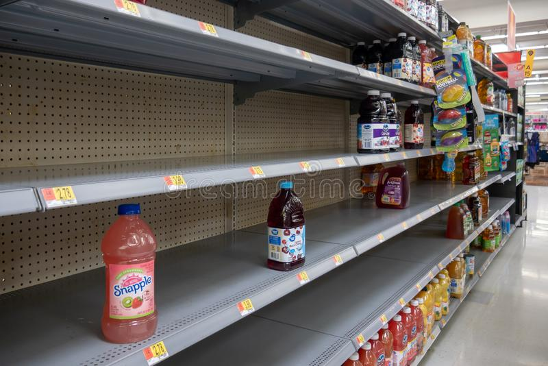 Empty shelves in Local Store Walmart for Hurricane Dorian Preparations. Florida Hurricane Season 2019. Hurricane Category 4. Coral Springs, Florida/USA - August royalty free stock photo
