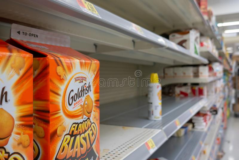 Empty shelves in Local Store Walmart for Hurricane Dorian Preparations. Florida Hurricane Season 2019. Hurricane Category 4. Coral Springs, Florida/USA - August royalty free stock photos