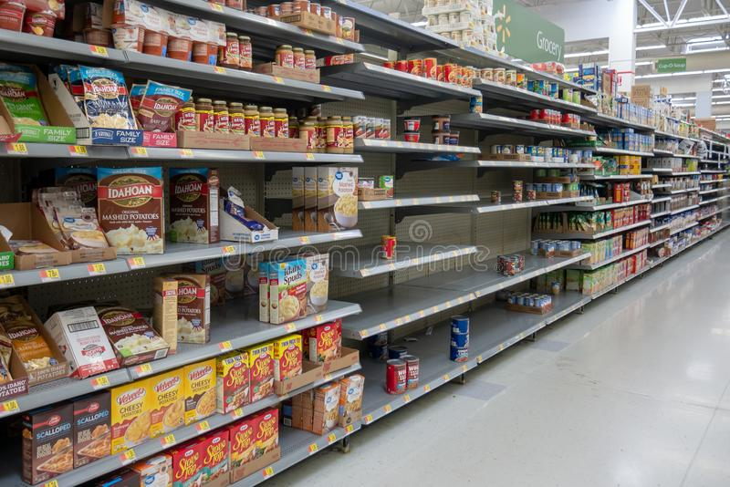 Empty shelves in Local Store Walmart for Hurricane Dorian Preparations. Florida Hurricane Season 2019. Hurricane Category 4. Coral Springs, Florida/USA - August royalty free stock photography