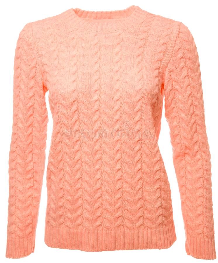 Free Coral Trendy Color Long Sleeved Sweater On A Mannequin Isolated Royalty Free Stock Photo - 140106695