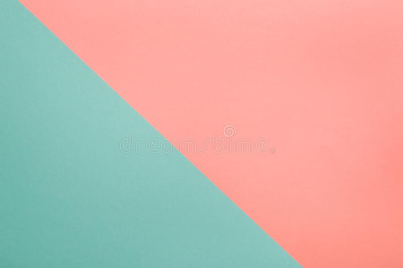 Coral and turquoise abstract geometric paper background royalty free stock photos