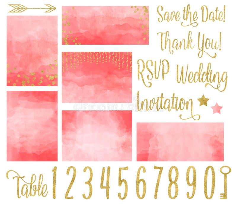 Coral Wedding Invitation Watercolor Set stock de ilustración