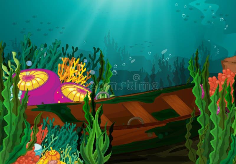 Coral y bote de remos en el mar profundo stock de ilustración