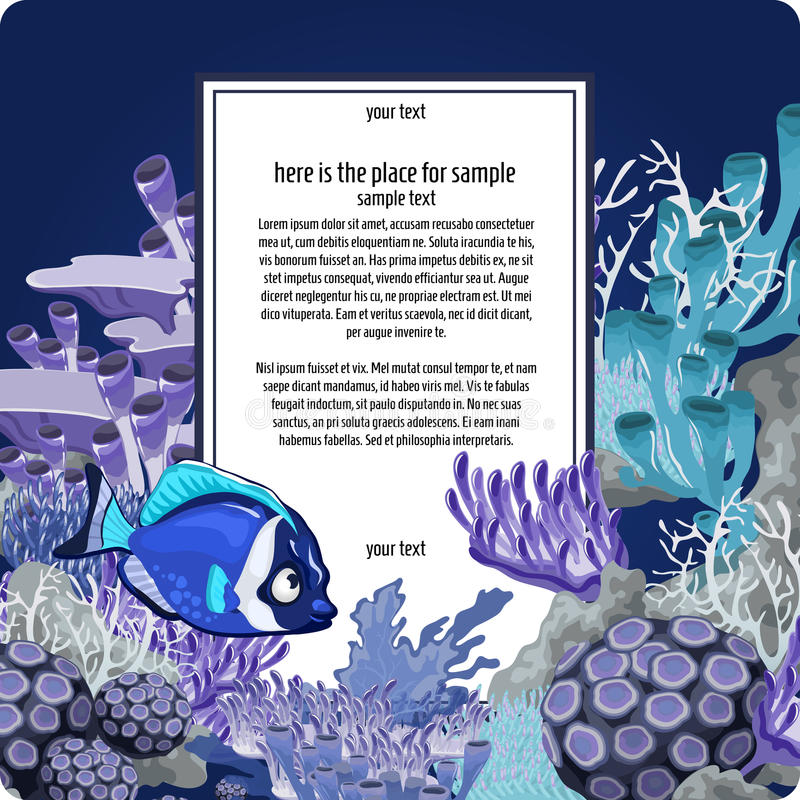 Corales y pescados con la tarjeta vertical para el texto ilustración del vector
