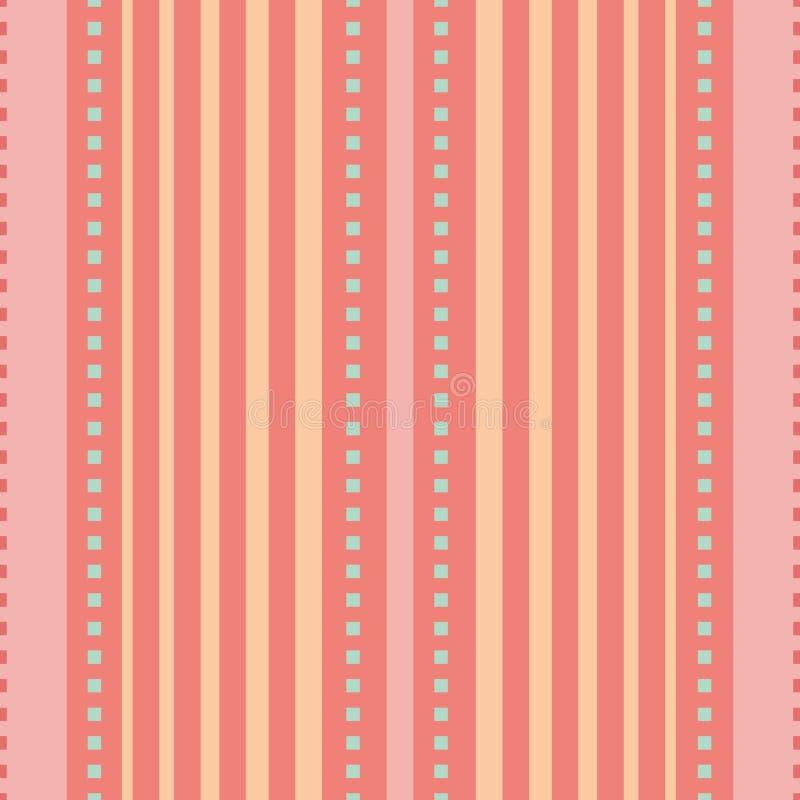 Coralino, rosa y diseño rayado vertical anaranjado del melocotón con los cuadrados azules minúsculos Modelo inconsútil del vector stock de ilustración