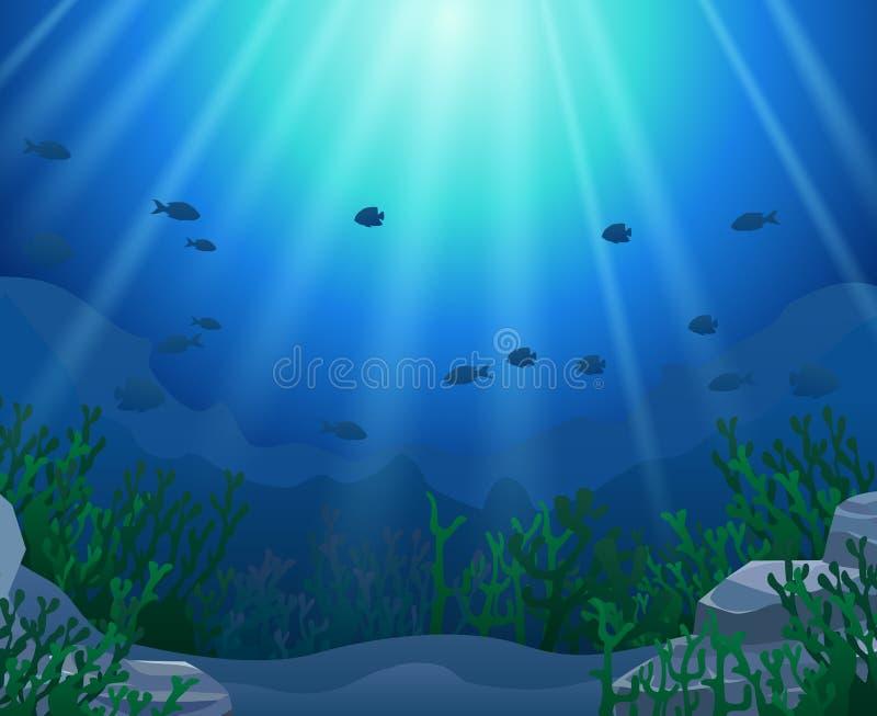 Coralli con il fondo subacqueo di vista illustrazione vettoriale