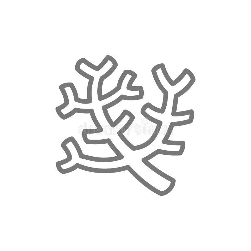 Coralli del mare, linea icona dell'alga illustrazione di stock