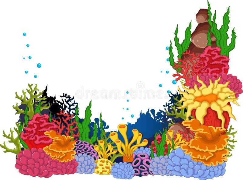 Coralli di bellezza con il fondo subacqueo di vista royalty illustrazione gratis