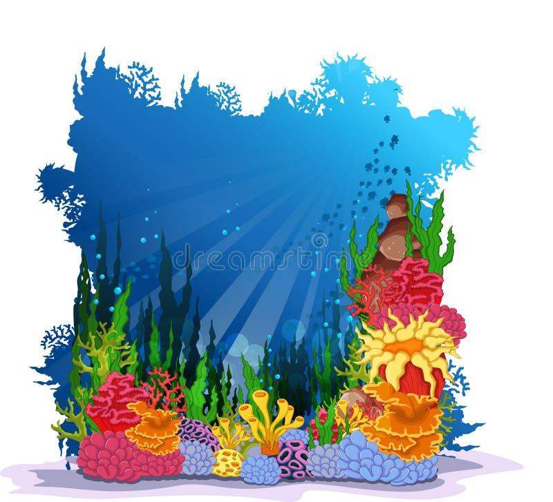Coralli di bellezza con il fondo subacqueo di vista illustrazione vettoriale