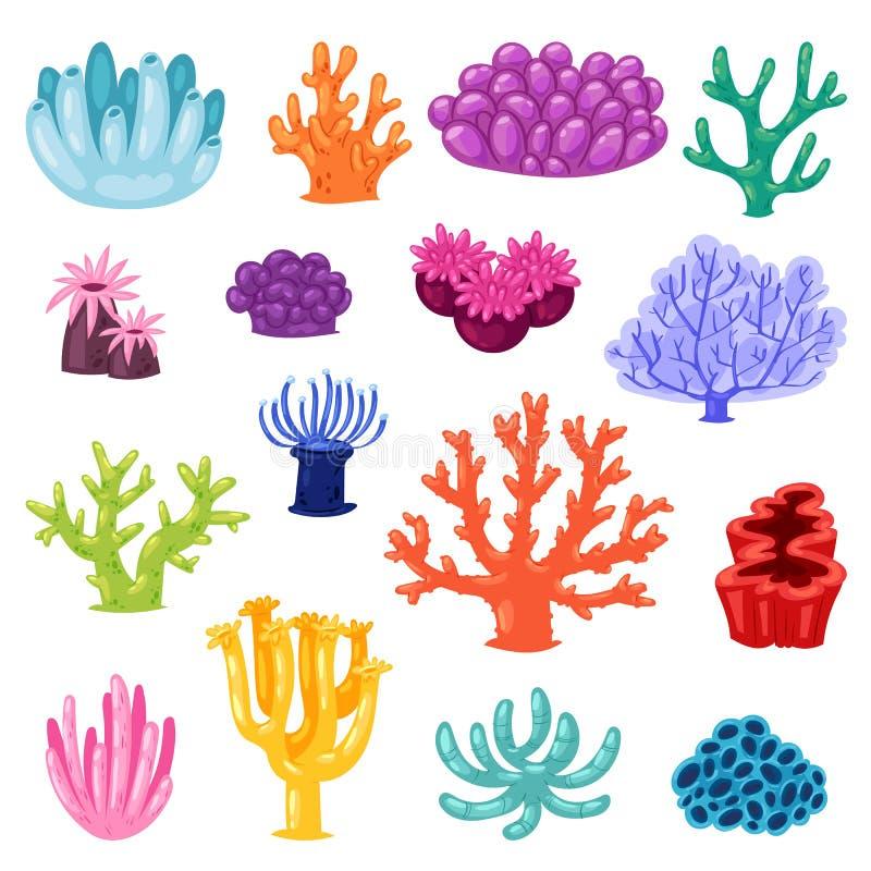 Coralline för korallvektorhav eller coralloidal uppsättning för exotisk illustration för cooralreef undersea av naturliga marin-  royaltyfri illustrationer
