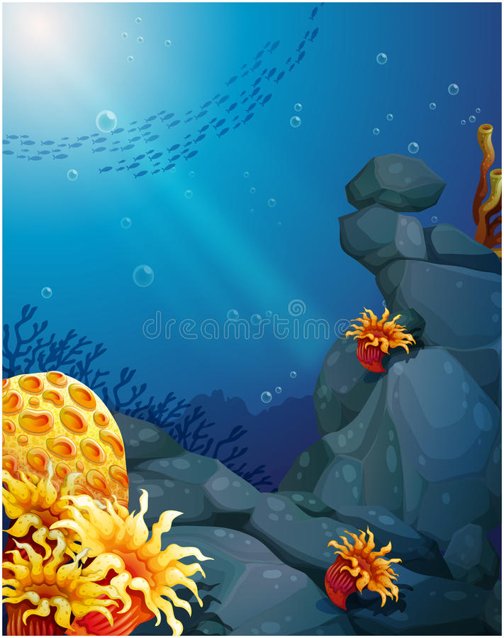 The corals near the rocks and the school of fish. Illustration of the corals near the rocks and the school of fish vector illustration