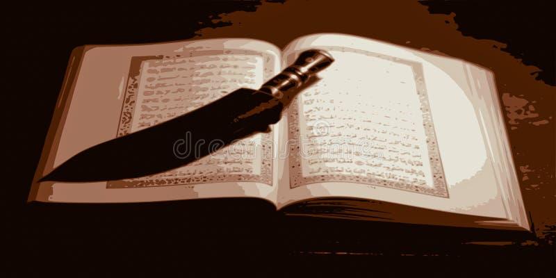 Coran ouvert antique et un couteau typiques des pays de l'Est illustration de vecteur