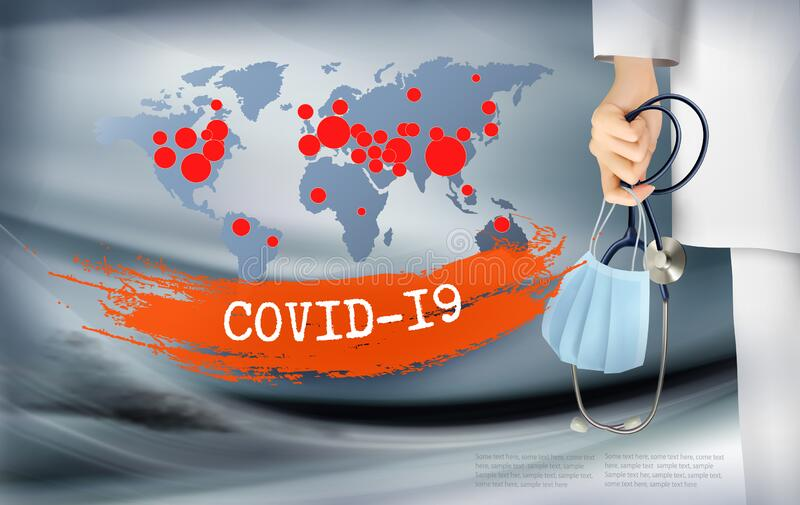 Coranavirus background with doctor holding a protective Medical Surgical Face mask and stethoscope. royalty free stock photo