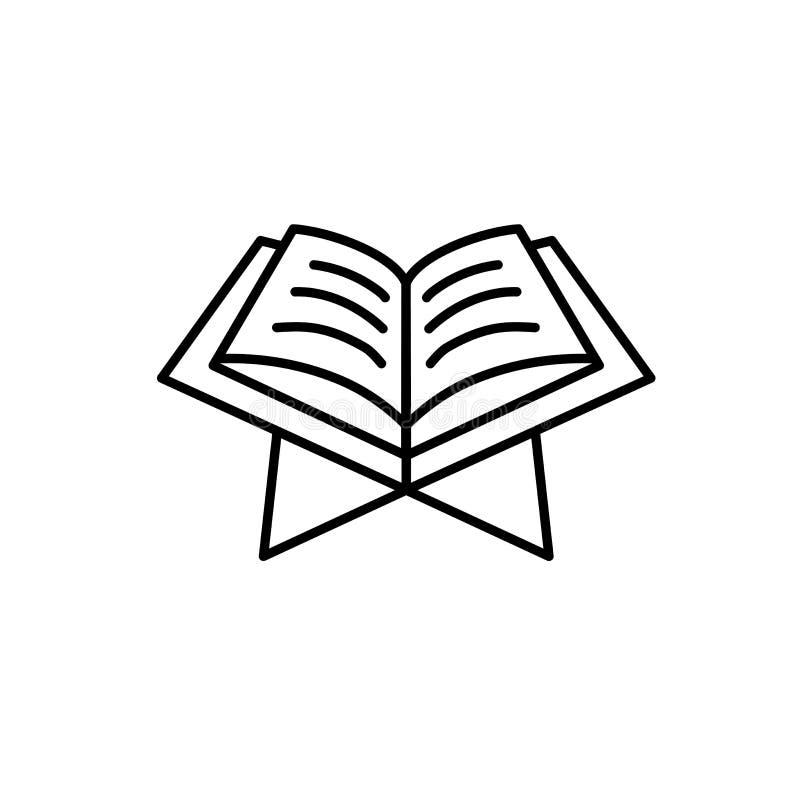 Corano colto il libro sacro di Islam con la tavola Stile semplice dell'icona di monoline per i musulmani il Ramadan e la celebraz royalty illustrazione gratis