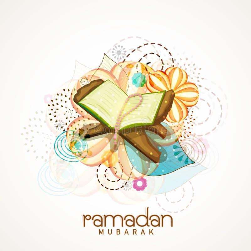Corano Shareef del libro sacro per la celebrazione di Ramadan Kareem illustrazione di stock