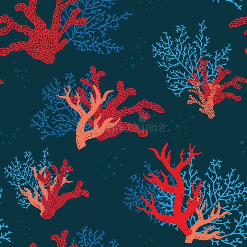 Coraux sous-marins colorés modèle sans couture, marine abstraite, fond nautique, tiré par la main Grand comme textile tropical d' illustration libre de droits