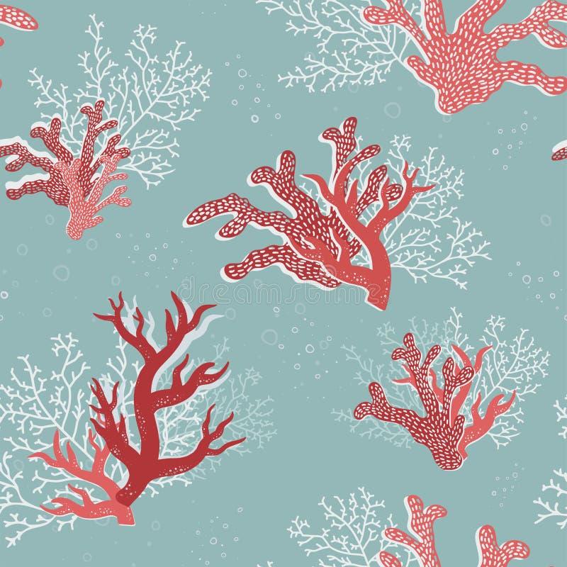 Coraux sous-marins colorés modèle sans couture, marine abstraite, fond nautique, tiré par la main Grand comme textile tropical d' illustration stock