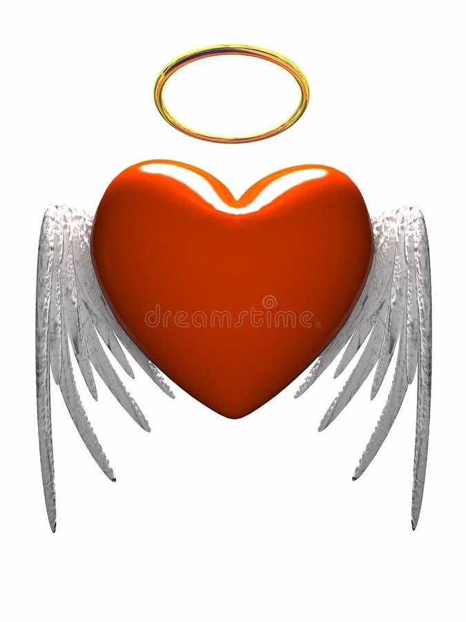 Corazón-ángel rojo con las alas aisladas en el fondo blanco stock de ilustración