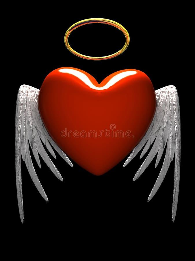 Corazón-ángel rojo con las alas aisladas en fondo negro stock de ilustración