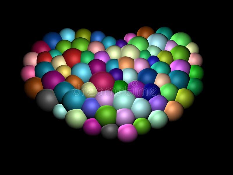 corazón 3D-Colorful ilustración del vector