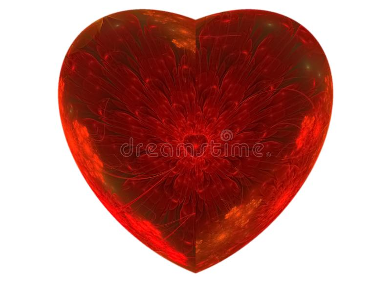 corazón abstracto de la flor del círculo del fractal científico stock de ilustración