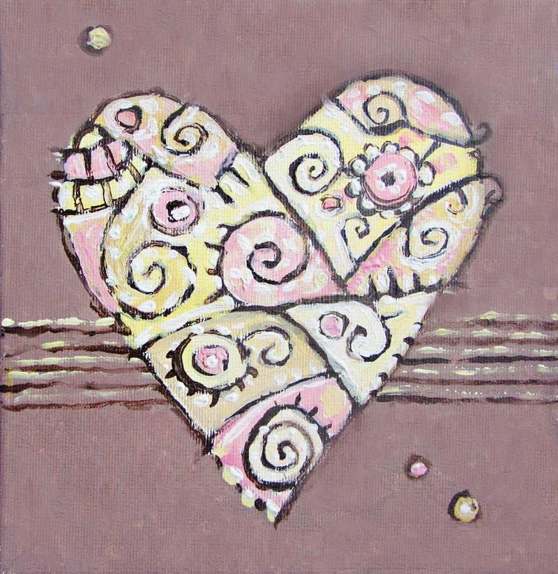Corazón abstracto de pintura stock de ilustración