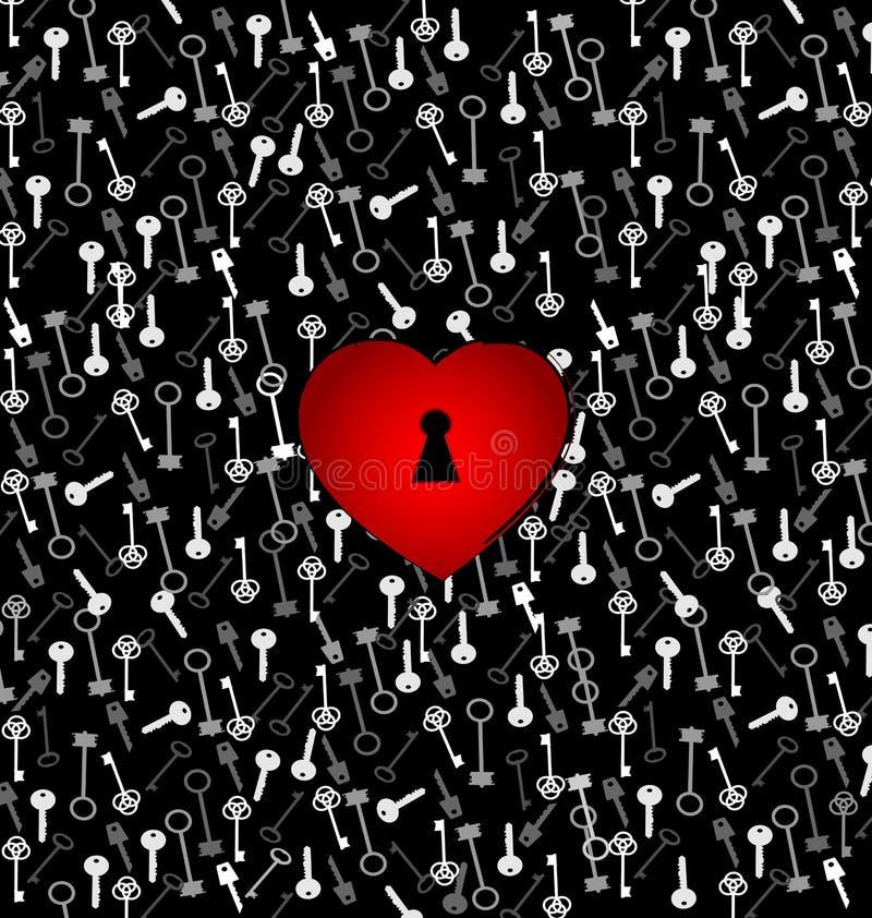 Corazón abstracto del color rojo del ornamento con el agujero y llaves libre illustration