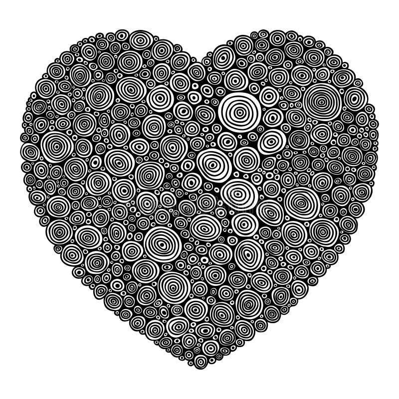 Corazón abstracto del remolino stock de ilustración