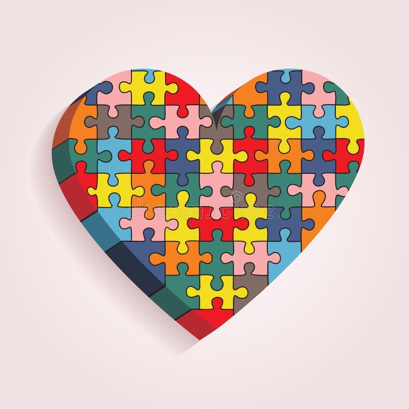 Corazón abstracto hecho de pedazos del rompecabezas Vector libre illustration