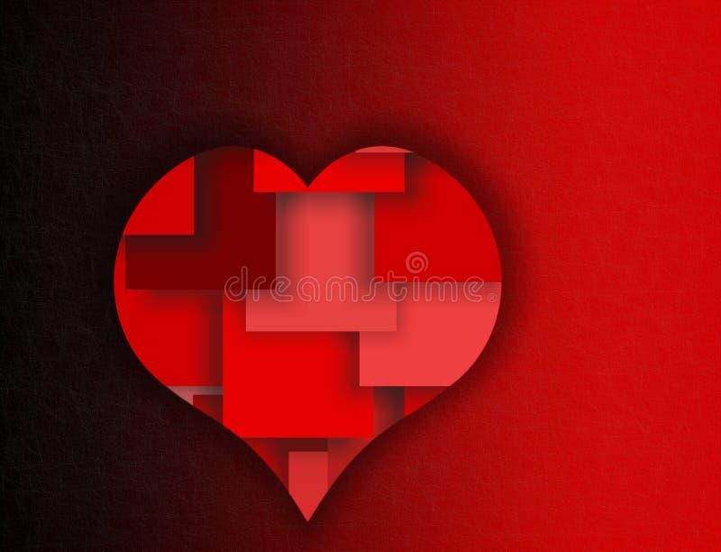 Corazón acodado rojo - símbolos del amor y del romance ilustración del vector