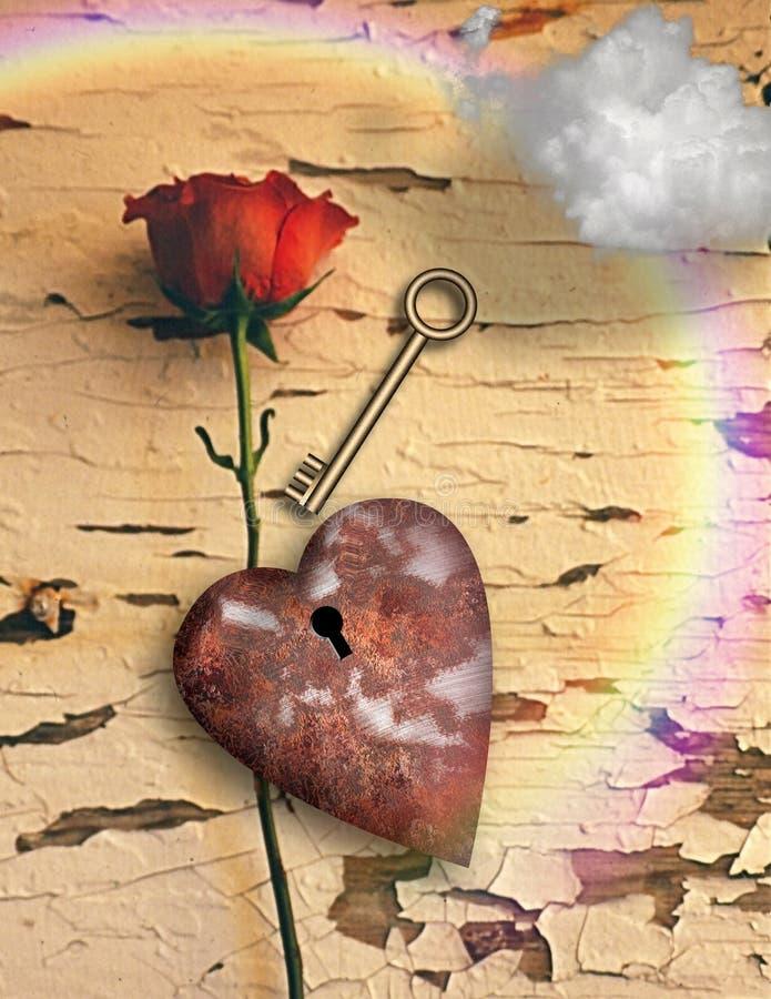 Corazón aherrumbrado ilustración del vector