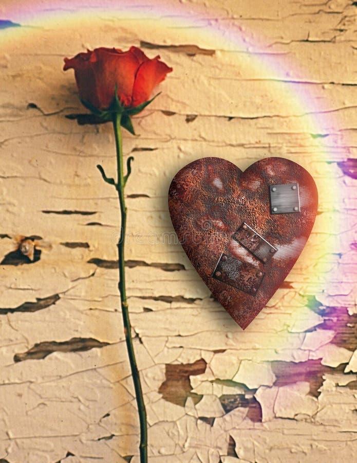Corazón aherrumbrado del amor y rosa roja libre illustration