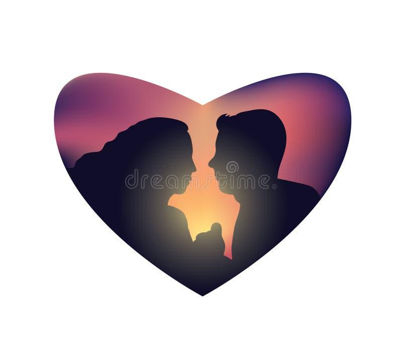 Corazón aislado puesta del sol romántica de los pares ilustración del vector