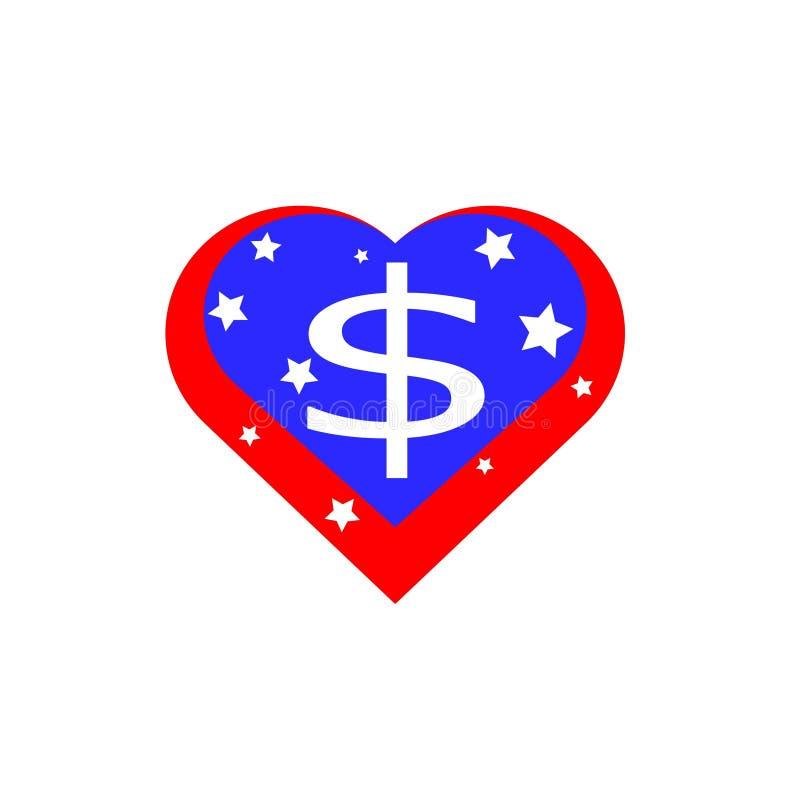 Corazón americano, vector bajo la forma de bandera de los Estados Unidos de América stock de ilustración