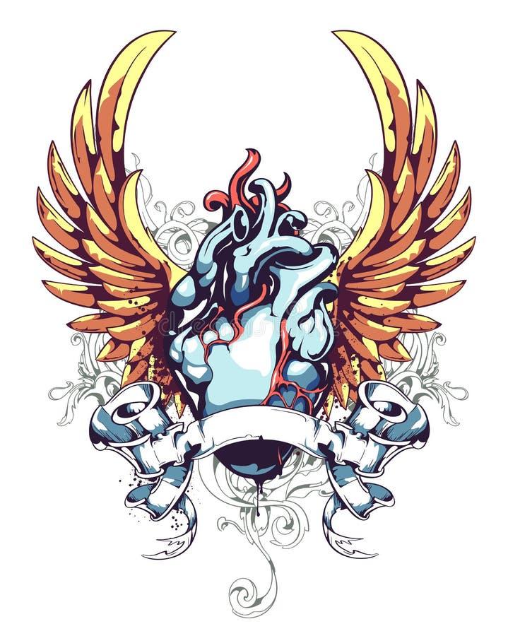 Corazón anatómico con las alas ilustración del vector