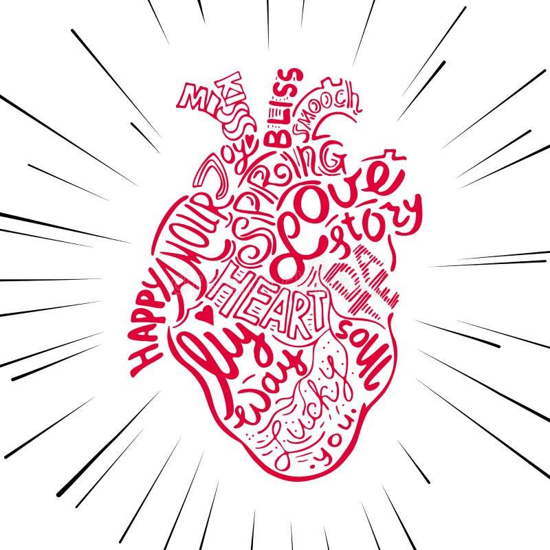 Corazón Anatómico Del Bosquejo Del Dibujo De La Mano Poner Letras Al ...