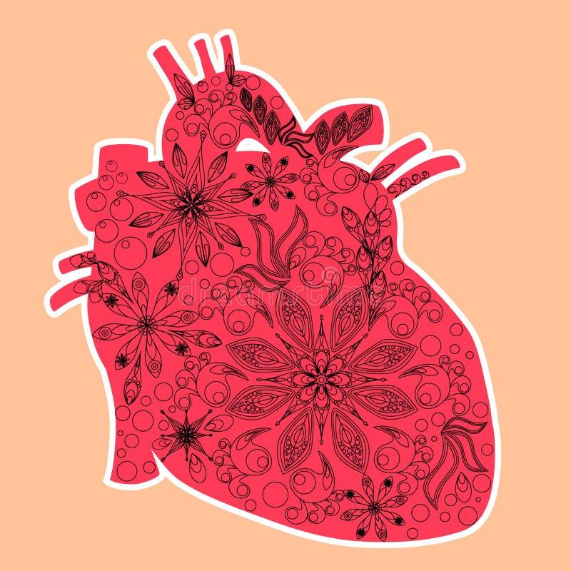 Corazón anatómico - técnica del arte del doddle, el día de tarjeta del día de San Valentín stock de ilustración