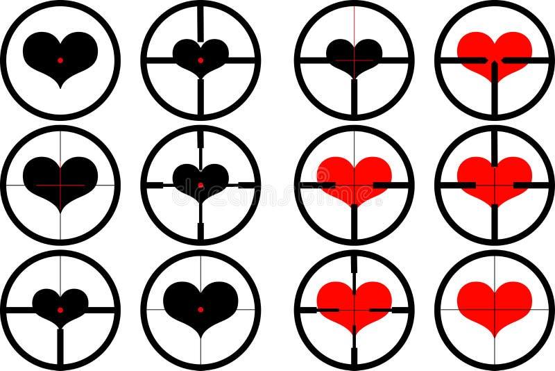 corazón, apuntado en el corazón, stock de ilustración