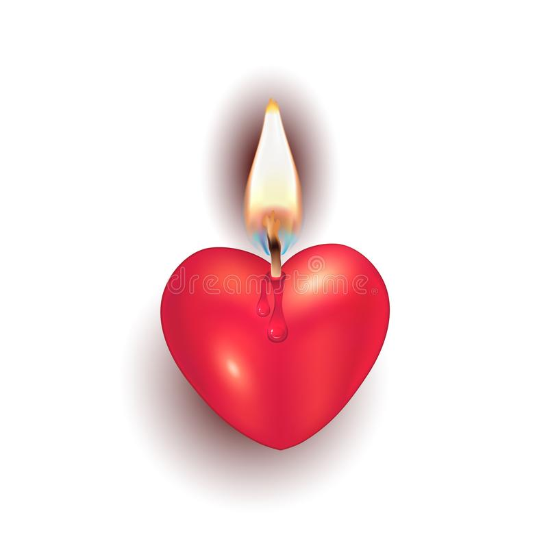 Corazón ardiendo de la vela en vector separado del objeto del fondo blanco ilustración del vector